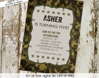 army military camo birthday invitation couples baby shower coed sprinkle sip see twins diaper wipes brunch retirement   210 Katiedid Designs