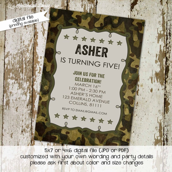 army military camo birthday invitation couples baby shower coed sprinkle sip see twins diaper wipes brunch retirement | 210 Katiedid Designs