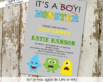 little monster baby boy shower invitation birthday twins couples coed sprinkle sip see brunch diaper wipes gray gay   1279 katiedid designs