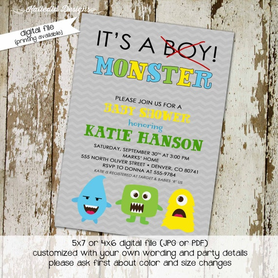 little monster baby boy shower invitation birthday twins couples coed sprinkle sip see brunch diaper wipes gray gay | 1279 katiedid designs