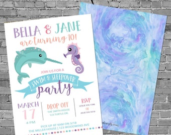 Narwhale Girl Birthday Invitation, Double Shower or twin baby shower, under the sea gender reveal   2019 Katiedid Designs
