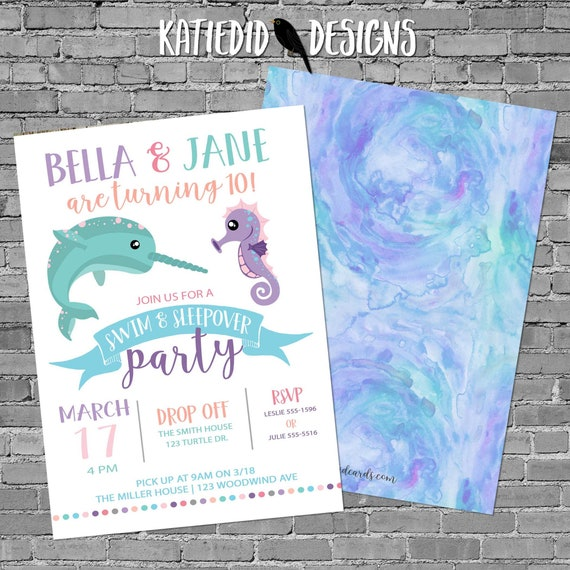 Narwhale Girl Birthday Invitation, Double Shower or twin baby shower, under the sea gender reveal | 2019 Katiedid Designs
