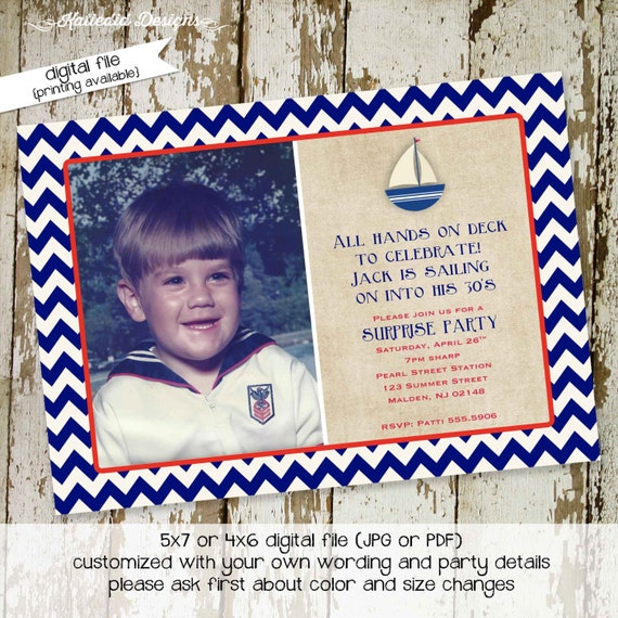 nautical baby shower invitation rustic ahoy it's a boy sailboat red white blue patriotic ultrasound pregnancy announcement | 284 Katiedid