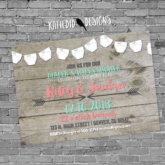 two moms baby shower invitation gender reveal neutral couples coed rustic tribal boho diaper wipes brunch LGBT gay dads | 1417 Katiedid Card