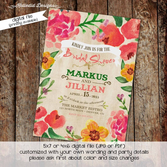 Couples Shower Invitation baby shower Rehearsal Dinner I do BBQ engagement party after party stock the bar coed floral | 306 Katiedid Design