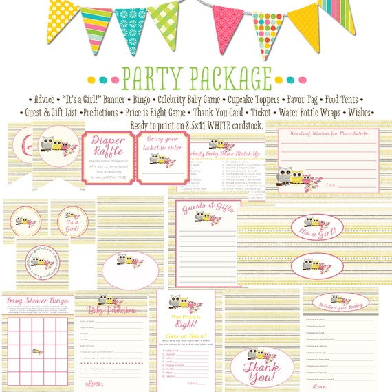 rustic baby girl owl baby shower co-ed baby shower party package banner wishes for baby cupcake toppers thank you card 1348 Katiedid Designs