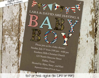 couples baby shower invitation coed boy sip see sprinkle diaper wipes brunch army camo military patriotic camouflage   1213 Katiedid Designs