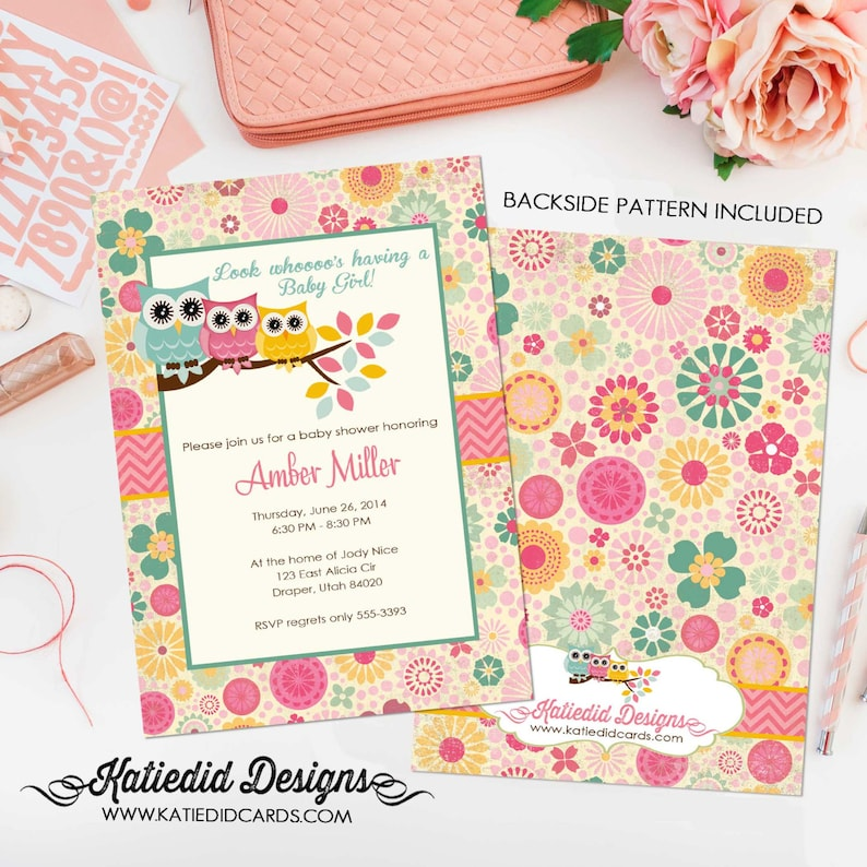 Owl baby shower invitation rustic girl floral birthday image 0