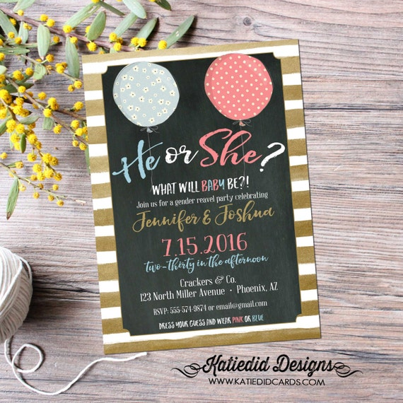 gender reveal invitation balloons Ready to pop baby shower neutral twins gold foil stripes chalkboard couples coed | 1464 Katiedid Designs