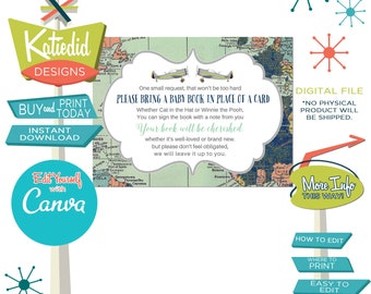 Bring a Book Insert for Baby Shower, Adventure Awaits Travel Theme with World Map and Retro Airplane | 12124 Katiedid