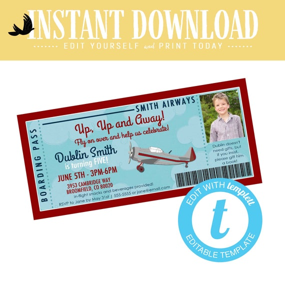 Travel Theme Boy Birthday Invitation, Airplane adventure awaits Baby Shower Invite with ultrasound photo  | 226 Katiedid Designs