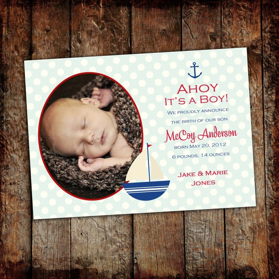 nautical baby shower invitation birth announcement newborn ultrasound photo picture birthday baptism sailboat patriotic | 429 Katiedid cards