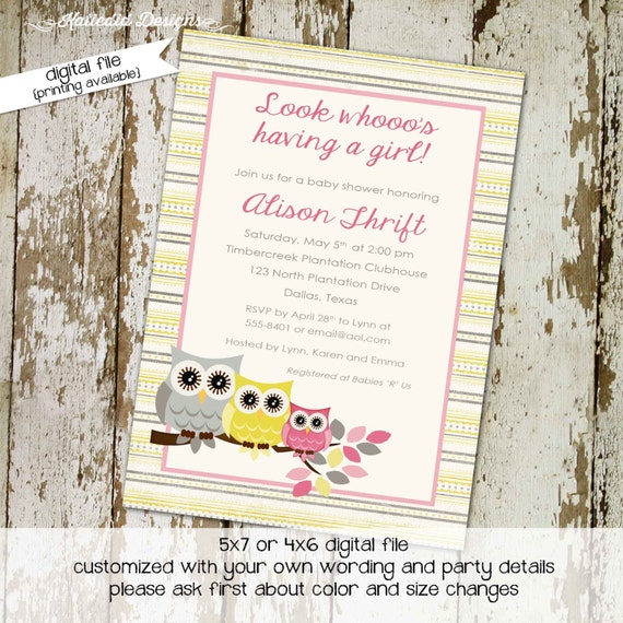 owl baby shower invitation gender reveal neutral girl 1st birthday diaper wipes brunch couples coed sip see yellow gray | 1348 Katiedid Card
