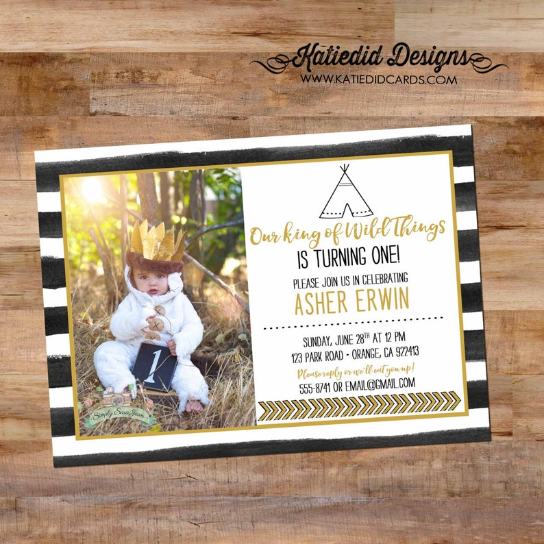 where the wild things are invitation wild one birthday boy image 0