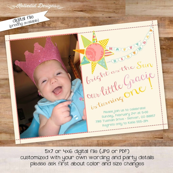 you are my sunshine birthday invitation brighter than the sun first communion baptism christening tea party girl picture gay | 259 Katiedid