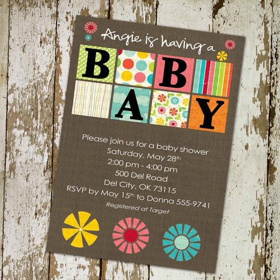 couples baby shower invitation gender reveal neutral rainbow floral coed sprinkle sip see diaper wipes brunch twins | 137 Katiedid Designs