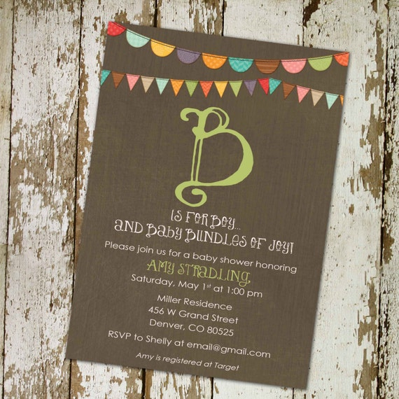 rustic baby boy shower invitation b is for baby invite Kraft paper rustic chic bunting banner surprise gender reveal 1228 Katiedid Designs