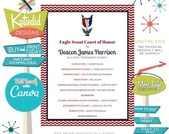 Eagle Scout Court of Honor Program, LDS baptism program mormon, templett editable | 603 Katiedid designs