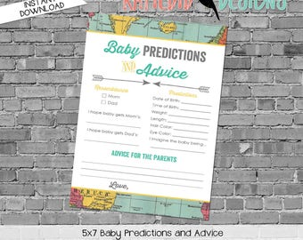 gender reveal party game travel themed baby shower co-ed diaper wipe brunch airplane world map baby predictions stats 1294 katiedid designs