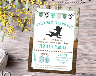 cowboy country western baby boy shower invitation burlap rustic bunting banner wood twins couples coed diaper wipes   12117 Katiedid Designs
