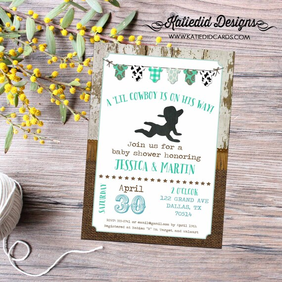cowboy country western baby boy shower invitation burlap rustic bunting banner wood twins couples coed diaper wipes | 12117 Katiedid Designs