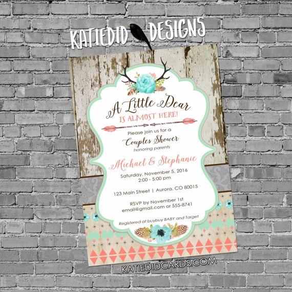 woodland baby shower invitation couples girl boho chic tribal rustic little deer antler floral coed diaper wipe brunch | 1382 Katiedid Cards