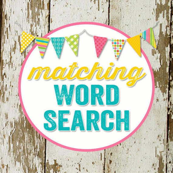 WORD SEARCH game card for baby or bridal shower, made to match any invitation, digital, printable file katiedid designs