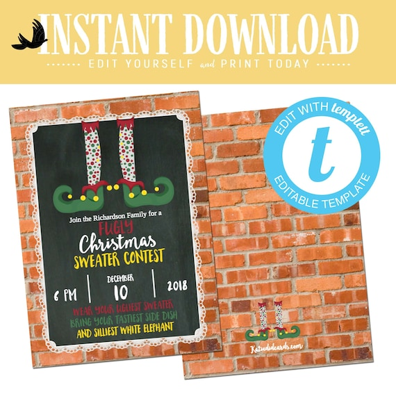 ugly christmas sweater party invitation funny Elf rustic funny christmas card | 801 Katiedid Designs