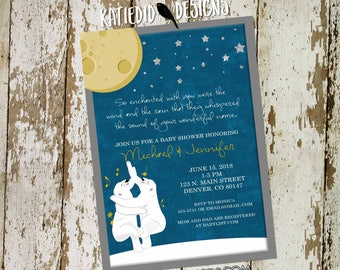 the night you were born couples baby shower invitation birthday twins coed sprinkle sip see brunch diaper wipes moon | 1422 katiedid designs