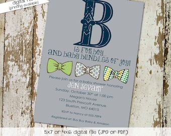 little man bow tie baby shower invitation boy gentleman first 1st birthday diaper wipes brunch couples coed retirement | 1286 Katiedid Cards