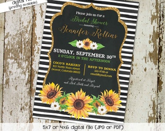 Sunflower Bridal Shower Invitation, Couples Stock the Bar, Floral Baby Shower, Black and White Stripes   329 Katiedid Cards