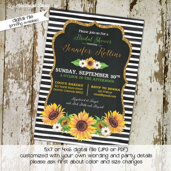 Couples shower invitation rehearsal dinner sunflower bridal brunch I do BBQ engagement party stock the bar black white | 329 Katiedid Cards