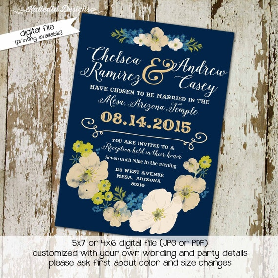 Couples shower Invitation wedding floral Rehearsal Dinner bridal save the date postcard stock the bar reception mormon LDS | 324 Katiedid