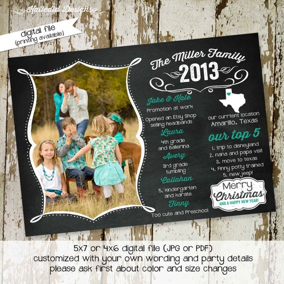 Family Christmas Card Printable Photo Holiday Card Year In Etsy