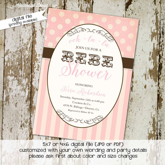 Paris couples baby shower invitation BEBE it's a girl diaper wipes sprinkle sip see baptism brunch tea party birthday | 1377 Katiedid cards