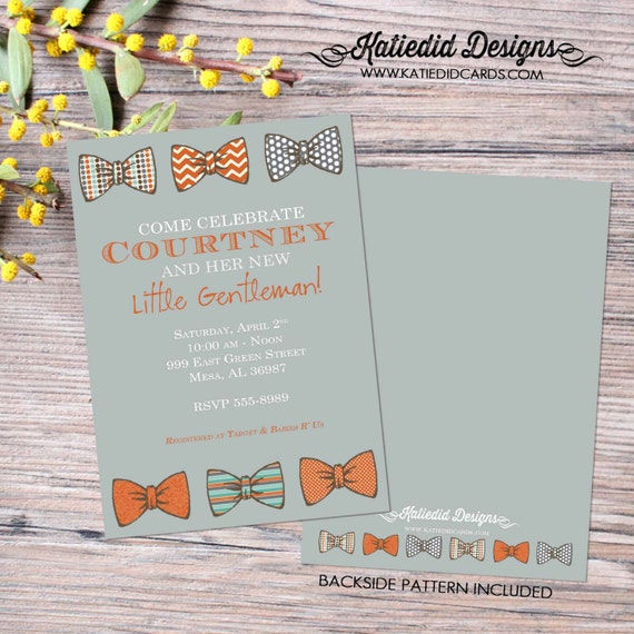 Mr onederful little man bow tie baby shower invitation boy gentleman birthday diaper wipes brunch couples coed orange gray | 1202 Katiedid