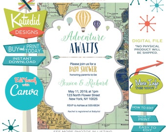 Travel Theme Gender Neutral Baby Shower Invitation or Gender Reveal, Hot Air Balloon Travel Theme for ANY EVENT | 1466 Katiedid Designs