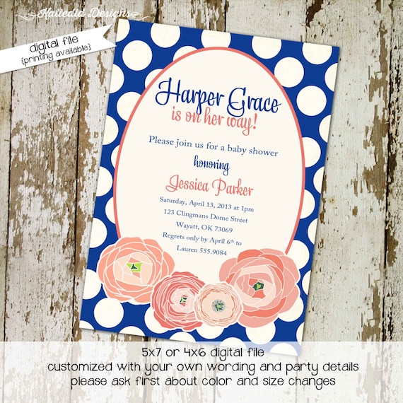 Couples baby shower invitation coral navy sprinkle coed sip see birthday girl baptism christening first communion | 1368 katiedid designs