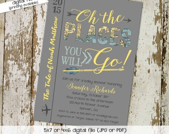 Adventure awaits travel theme world map once upon a time oh the places couples baby shower invitation tribal arrow storybook   1297 Katiedid