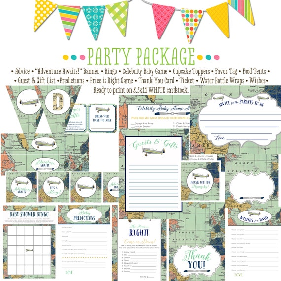 Travel Theme Adventure awaits oh the places you'll go baby shower airplane world map party package game bingo wishes | 12124 Katiedid Design