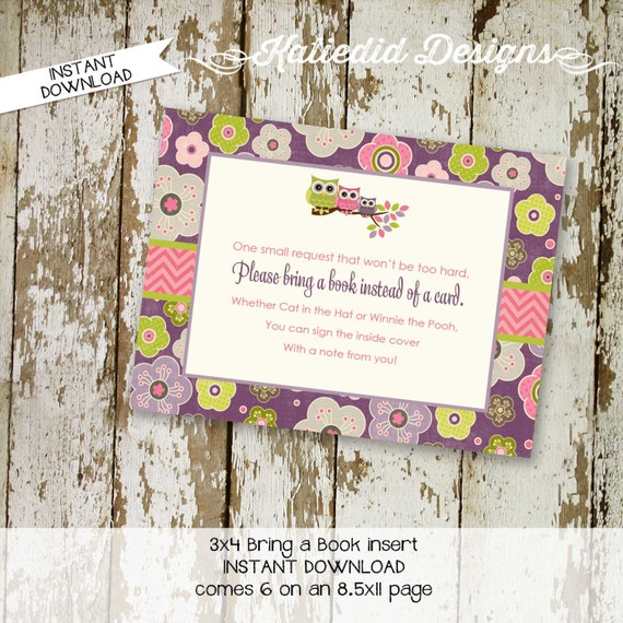 Bring a Book instead of a card enclosure card insert storybook theme library floral rustic chic owl baby shower party 1301 katiedid designs