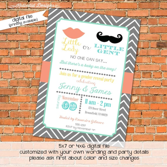 gender reveal invitation Little miss man lips or mustache couples baby shower diaper wipes brunch coral chevron twins coed | 1449 Katiedid