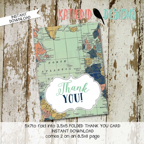 Travel Themed Invitation oh the places you'll go baby shower Adventure Awaits world map THANK YOU CARD tribal arrows 1466 katiedid designs