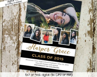 High School Graduation Announcement with Photo Picture, Black White Stripes, Commencement Invitation   607 Katiedid Designs