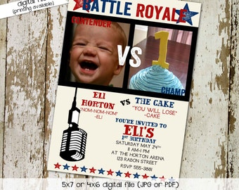 Boxing Birthday Invitation, Battle Royale Gender Reveal with Photo, Cake vs Baby   282 Katiedid Card