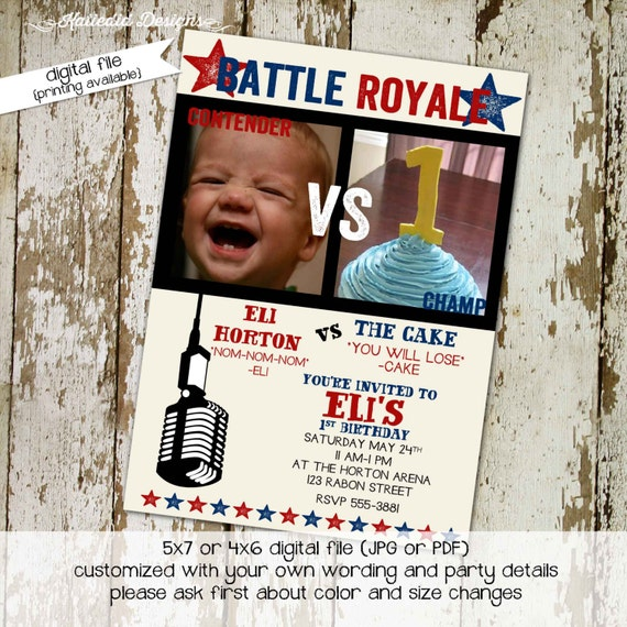 boxing invitation 1st first birthday battle Royale today I eat cake boy UFC twins photo picture patriotic red white blue | 282 Katiedid Card