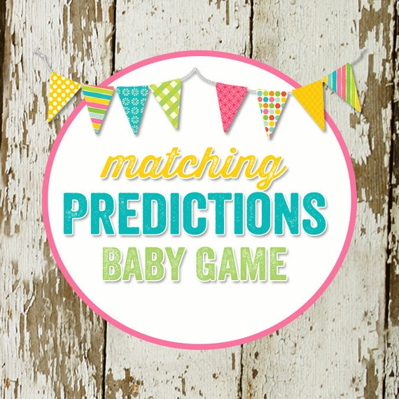 BABY PREDICTIONS and STATS game to match any invitation for baby shower or bridal shower, digital,  baby pool guessing game katiedid designs