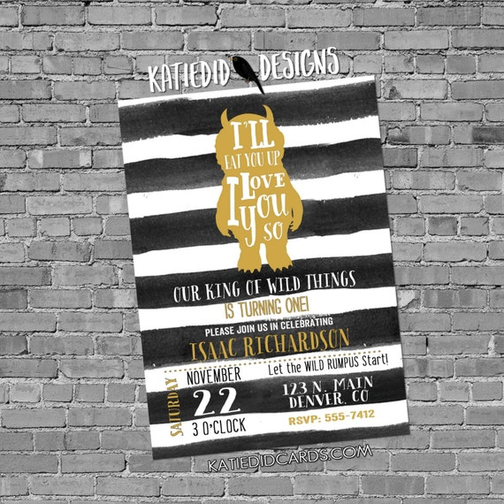 Where the wild things are birthday invitation one two rumpus black white stripe couples baby shower coed sprinkle baptism boy | 297 Katiedid