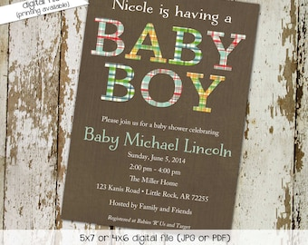 plaid baby boy shower invitation couples coed gender neutral reveal sprinkle sip see baptism birthday twins diaper wipes gay   1205 Katiedid