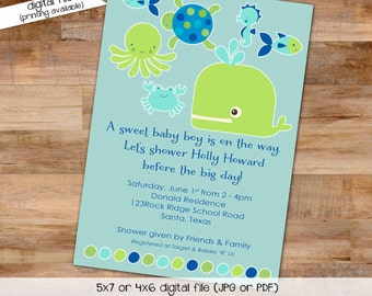 gender reveal invitation Whale baby shower under the sea boy diaper wipes nautical turtle octopus ocean fish neutral   1235 Katiedid Designs